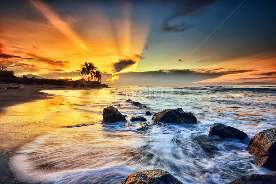 Naturally by Hendri Suhandi - Landscapes Waterscapes ( waterscape, rays of light, beach, sunrise, stones, rocks, sun rays )