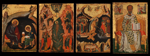Four Icons from a Pair of Doors (Panels), possibly part of a Polyptych: John the Theologian and Prochoros, the Baptism (Epiphany), Harrowing of Hell (Anastasis), and Saint Nicholas