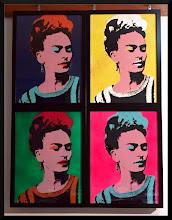 """Foto: Frida """"Warhol"""" by F&N  - Opera realizzata unendo 4 serigrafie (cornici di legno con vetro) -"""