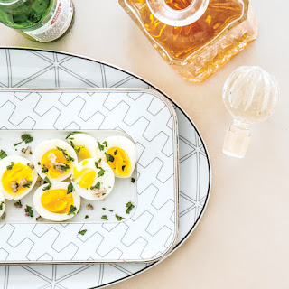 Eggs with Pickled Shallot and Parsley.