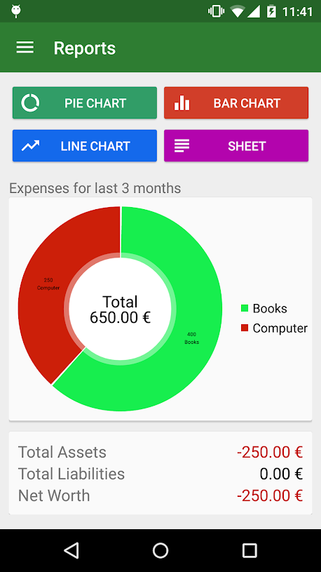 GnuCash for Android reports