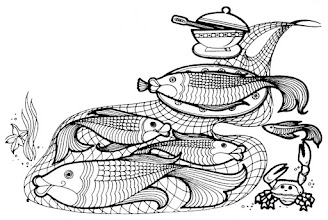Photo: Ryby - ilustracja z broszury dołączanej do radzieckiej kuchenki mikrofalowej (ok. 1985 r.)