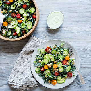 Green Goddess Salad with Chickpeas, Avocado & Sprouts.