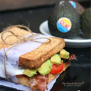 Avocado, Candied Bacon and Fried Egg Sandwich.