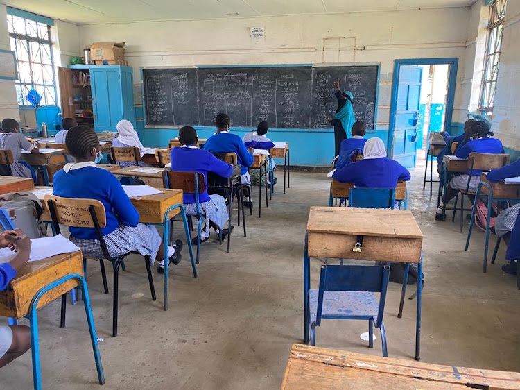 Zahra Ngosi teaches Class 8 pupils at Kilimani Primary School on October 12
