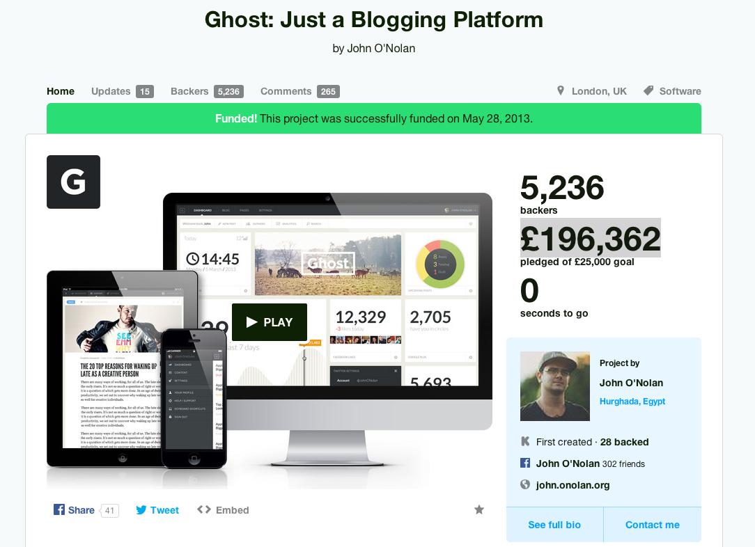 Ghost: just a blogging platform