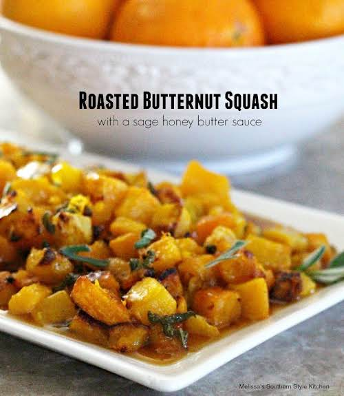 """Roasted Butternut Squash With A Sage Honey Butter Sauce """"This recipe takes..."""