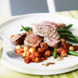 Grilled Lamb with Tomato Chickpeas