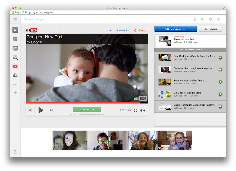 Photo: Hangouts: YouTube App loaded