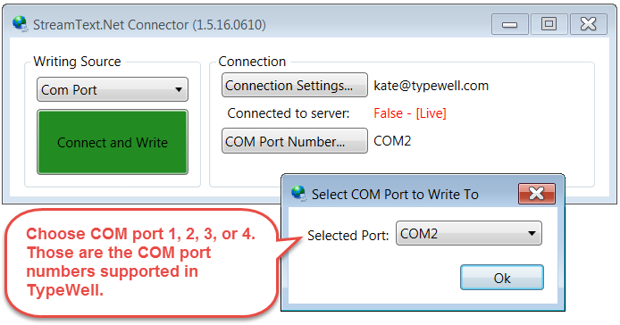 screenshot of COM port drop-down options in StreamText Connector window.  Com ports 1-4 are supported by TypeWell