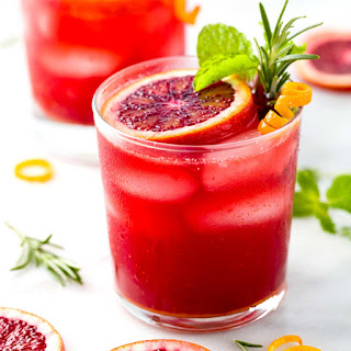 Sparkling Blood Orange Mocktail with Turmeric.