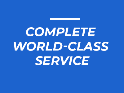 Image with writing that says Complete World-Class Service