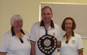 Photo: Triples Champions- Chris Bruce, Adrian Philpott and June Lay