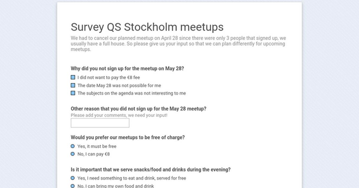 Survey QS Stockholm meetups