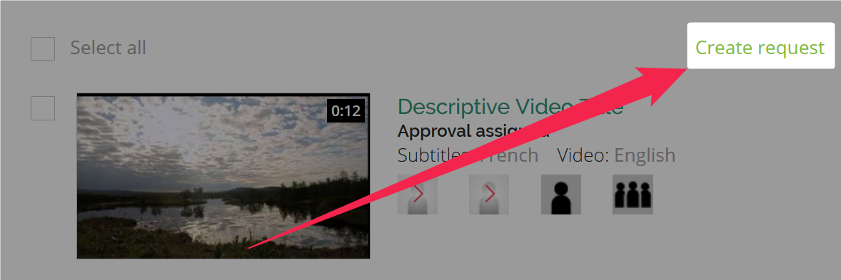 A pink arrow points to the upper right corner of the subtitle requests section of the management page and points to the highlighted create subtitle requests button