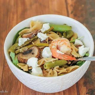 Pasta Salad with Asparagus, Sugar Snap Pea Pods, Mushrooms and Shrimp.
