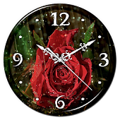 Rain Rose Clock Live Wallpaper