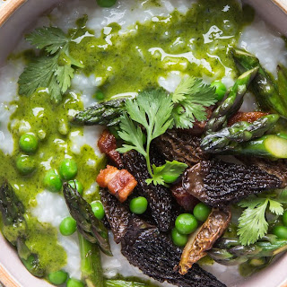 Congee with Spring Vegetables and Green Garlic Oil Recipe