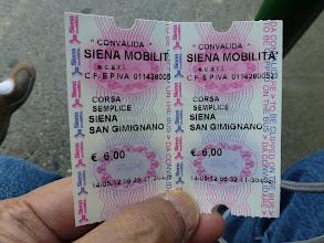 Photo: Bus tickets (6 Euros each - one-way)