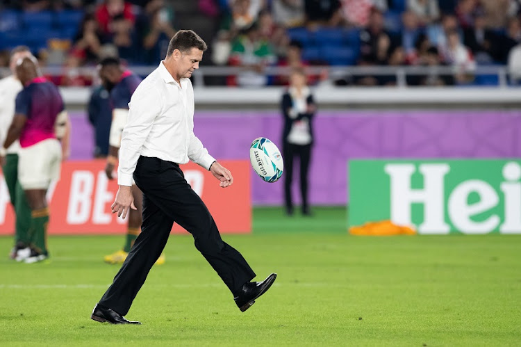 Rassie Erasmus South Africa's head coach during the Rugby World Cup 2019 Semi Final match between South Africa and Wales at International Stadium Yokohama on October 27, 2019 in Yokohama, Japan.