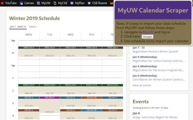 MyUW Calendar Scraper