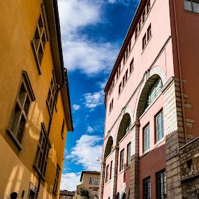 street by Carlos Kiroga - City,  Street & Park  Street Scenes ( sky, shadow, sunny, street, house, people, light )