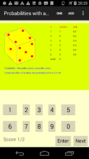 Probabilities with a dice