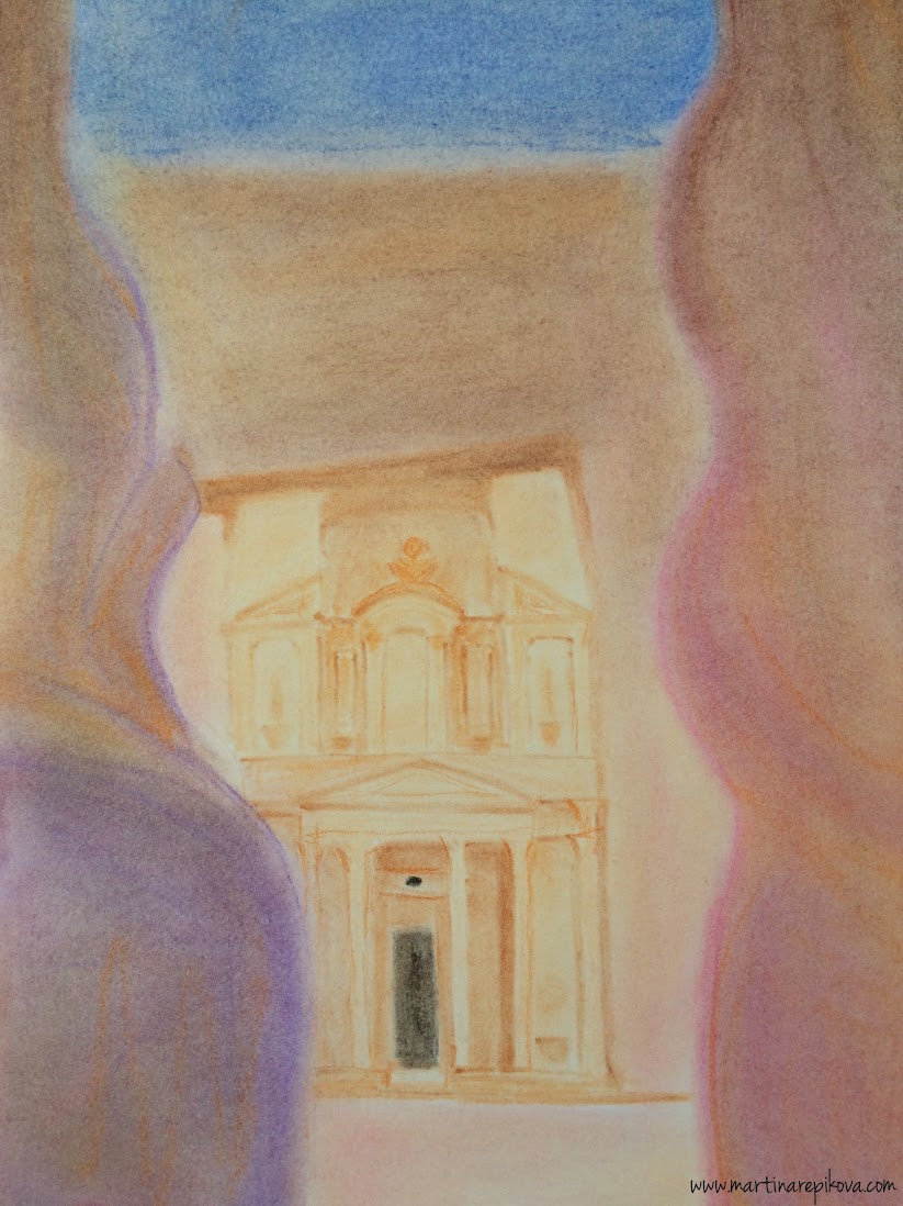 The Treasury in Petra, Jordan (a pastel drawing)