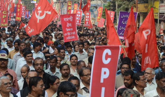 Leaders and supporters of 17 Left parties participate in a rally in Kolkata to  protest against the demolition of Babri Masjid in Ayodhya. Photo: Sushanta Patronobish
