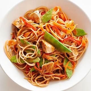 Whole Grain Spaghetti With Asian Peanut Sauce.