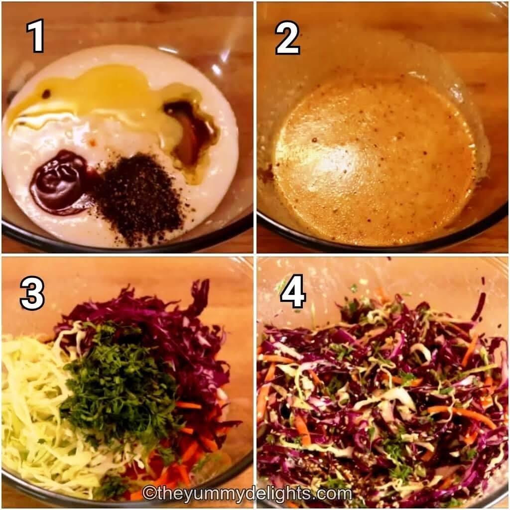 step by step image collage of preparing healthy greek yogurt coleslaw recipe