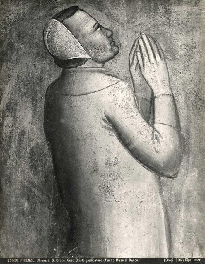 Maso di Banco (1335-40)Giudizio finale(particolare Bettino de'Bardi inginocchiato), Cappella Bardi di Vernio, Basilica di Santa Croce, Firenze