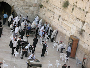 Photo: Jews praying at the Wailing Wall / Western Wall (Klagemauer).