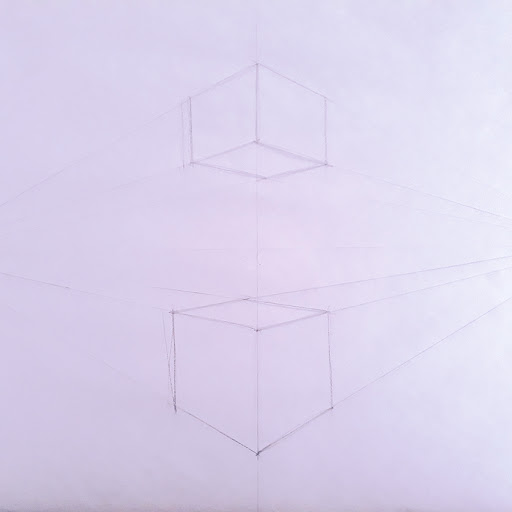 Picture of three point perspective drawing