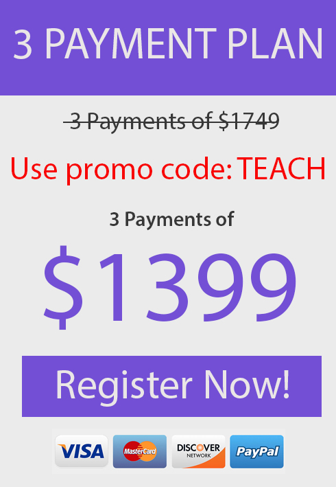 3 Payments of $1399 Each, Use Promo Code TEACH