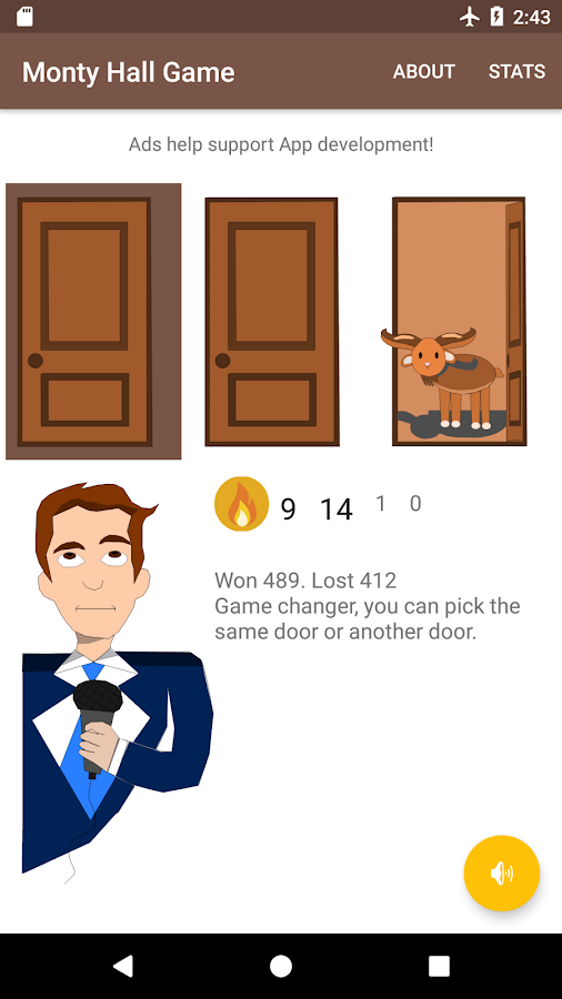 Monty Hall Game- screenshot