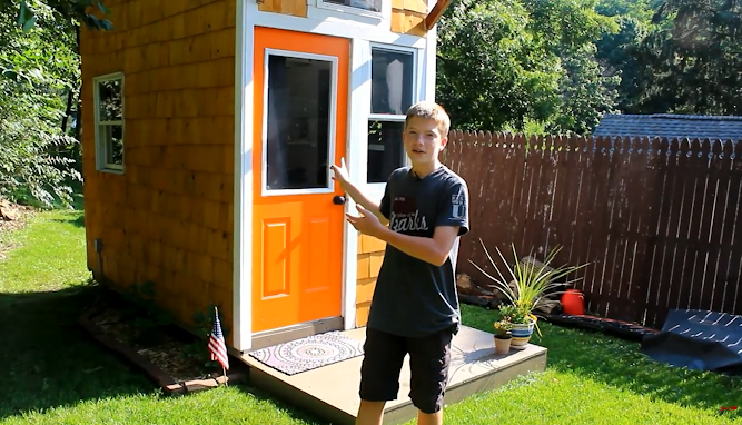 13-Year-Old Raises $1,500 To Build His Very Own Tiny Home. Walk Inside To See How He Lives