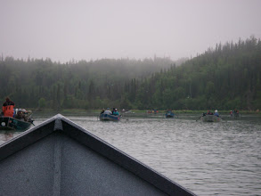 Photo: People hole on the Kasilof river. July fishing for King salmon can be exciting out of a drift boat.