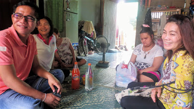 Photo: Mae Ai:  Home care visit with Wi and volunteer healthcare workers, Loy and Daeng .