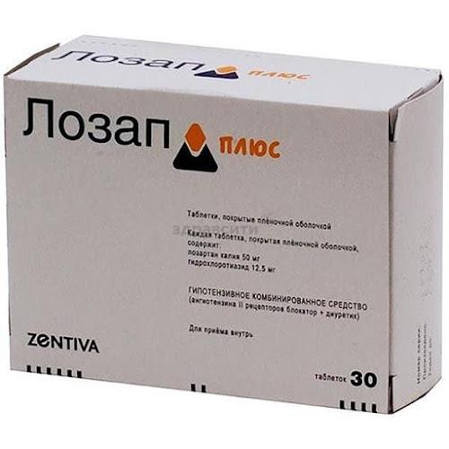 Лозап Плюс таблетки п.п.о. 50мг+12,5мг 30 шт.