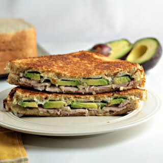 Grilled Turkey Avocado Ranch Cream Cheese Sandwich.