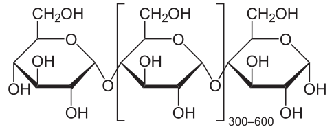 figure shows chemical structure of a segment of amylose (a type of starch) with 3 glucose units