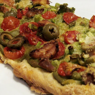 Dairy-Free Mexican Pizza with Avocado Cream Sauce.