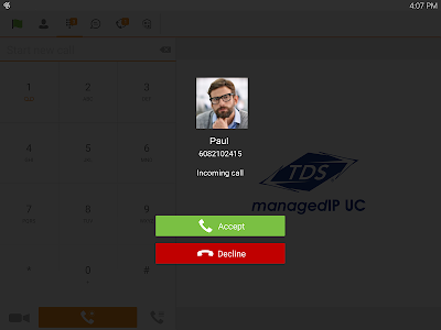 TDS managedIP Hosted Tablet UC screenshot 1