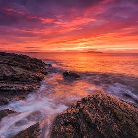 When everything turn into orange. by Piotr Dominiak - Landscapes Sunsets & Sunrises ( clouds, orange, irish sea, ireland, cloudsrocks, long exposure, irish, sunrise, portmarnock )