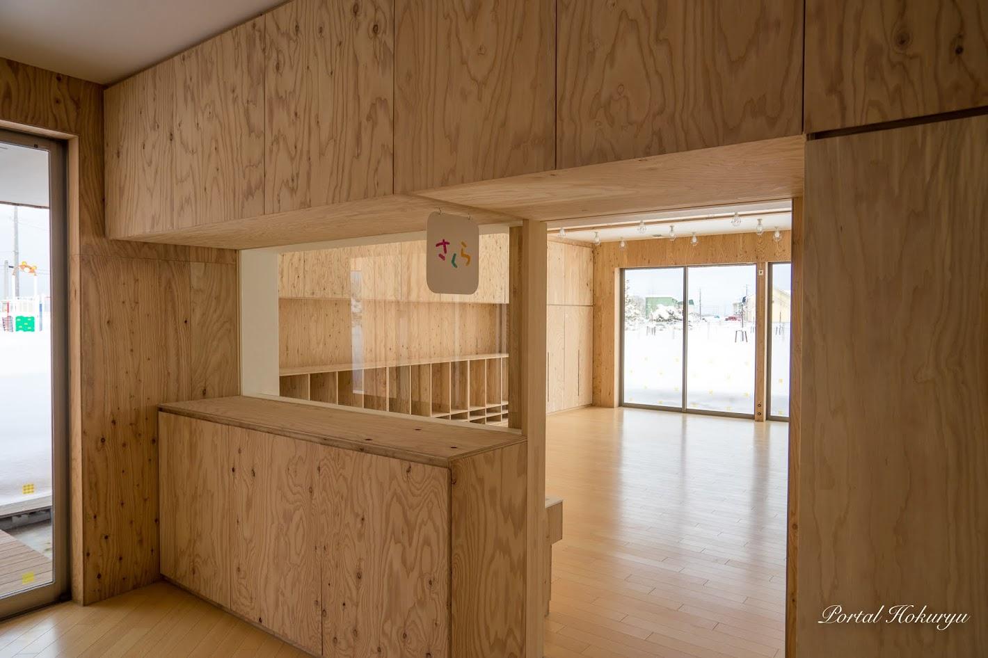 カラマツ材が使われている保育室