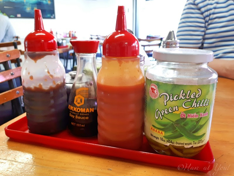 selection of condiments on each table