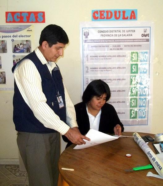 Photo: ODPE Ricardo Palma.- Capacitación a miembros de mesa en el distrito de San Eulalia, Lima.
