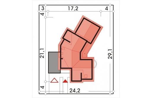 Bursztyn wersja A z pojedynczym garażem - Sytuacja