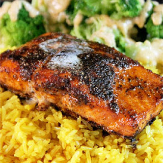 Blackened Salmon with Yellow Rice and Broccoli